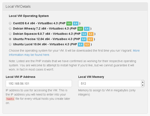 PuPHPet Local VM Details
